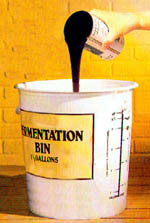 Pour concentrate into bucket